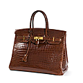 Herms Paris made in france. Sac Birkin 35 cm en crocodile porosus Cognac