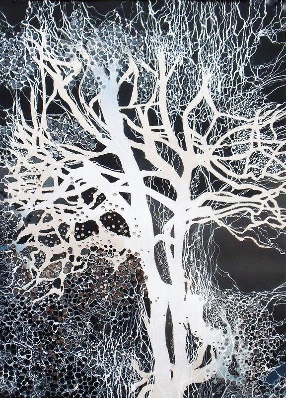 2015-2016- l'Arbre blanc- Huile sur papier, sous-verre de 80x60cm