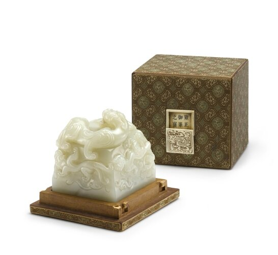 An Extremely Rare Imperial White Jade 'Yongzheng Yubi Zhi Bao' Seal with original Ivory-Inlaid Box and Cover
