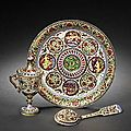 A jaipur diamond-set enamelled gold dish, goblet and spoon. india, 19th century