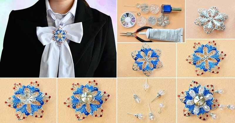 1200-How to Make Charming Glass and Rhinestone Flower Brooch for Women