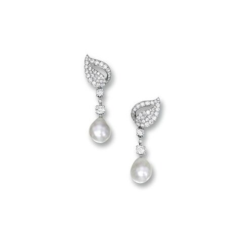 Fine Pair of Natural Pearl and Diamond Pendent Earrings