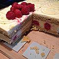 Gâteau pistache/ framboises