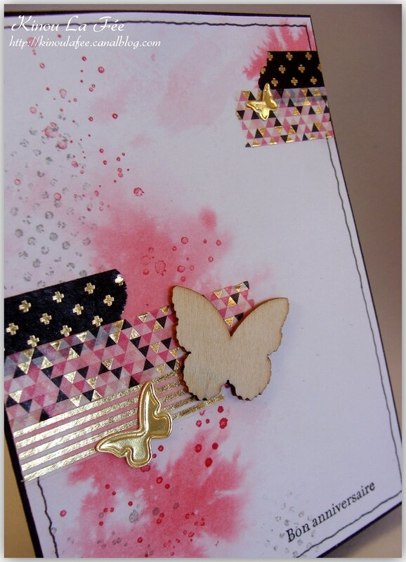 Carte Masking Tape et Papillon rose 2