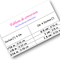 Conversions de mesures inches/cm