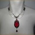 Collier camée rose rouge bijou mariage victorien st valentin steampunk victorian red rose cameo wedding necklace