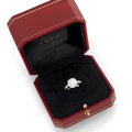 A platinum ring by cartier set with a brillant-cut diamond weighing 4,02 cts
