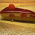 Entremet pistache, chocolat blanc et framboises