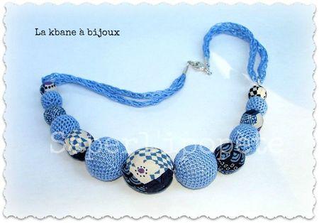 collier tissu japonais tons bleus et écru et crochet12