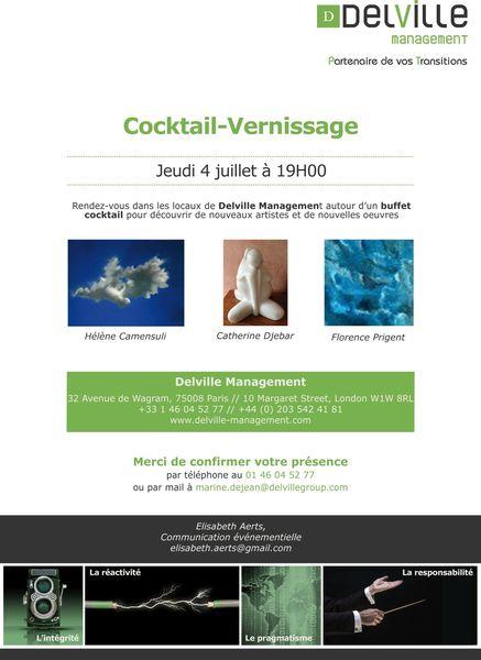 Invitation Cocktail Vernissage - Jeudi 4 juillet à 19h00 - Delville Management