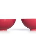 A rare pair of ruby-red glazed bowls, marks and period of yongzheng