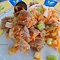 Tartare de thon, carottes & concombre