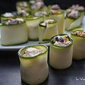 Cannellonis de courgettes crues farcis aux olives et tomates séchées
