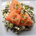 Salade de pommes de terre et haricots au saumon fumé