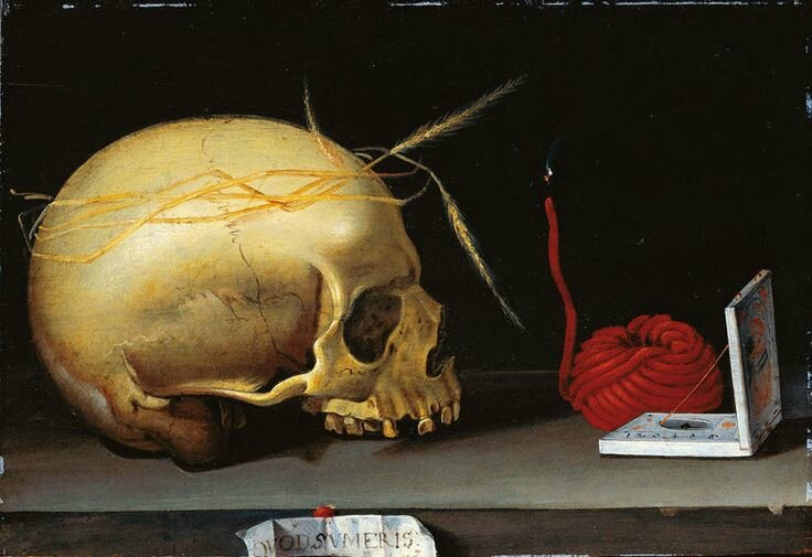 German master, Vanitas Still Life with Skull, Wax Jack and Pocket Sundial, circa 1620
