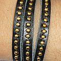 Bracelet Wrap 'You Rock' en cuir et clous en métal doré
