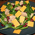 Salade calcium : épinard, foie de morue, cheddar ...