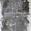 Une histoire a germé 100 cm x 50 cm x 1.5 cm technique mixte Marion Alexandre