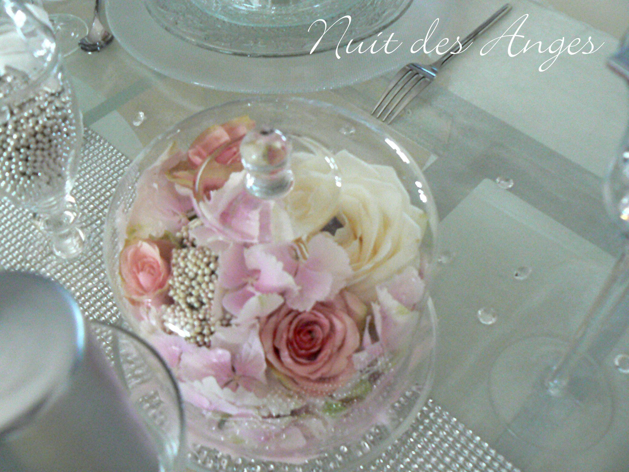 D coration de table rose et gris nuit des anges for Deco rose et gris