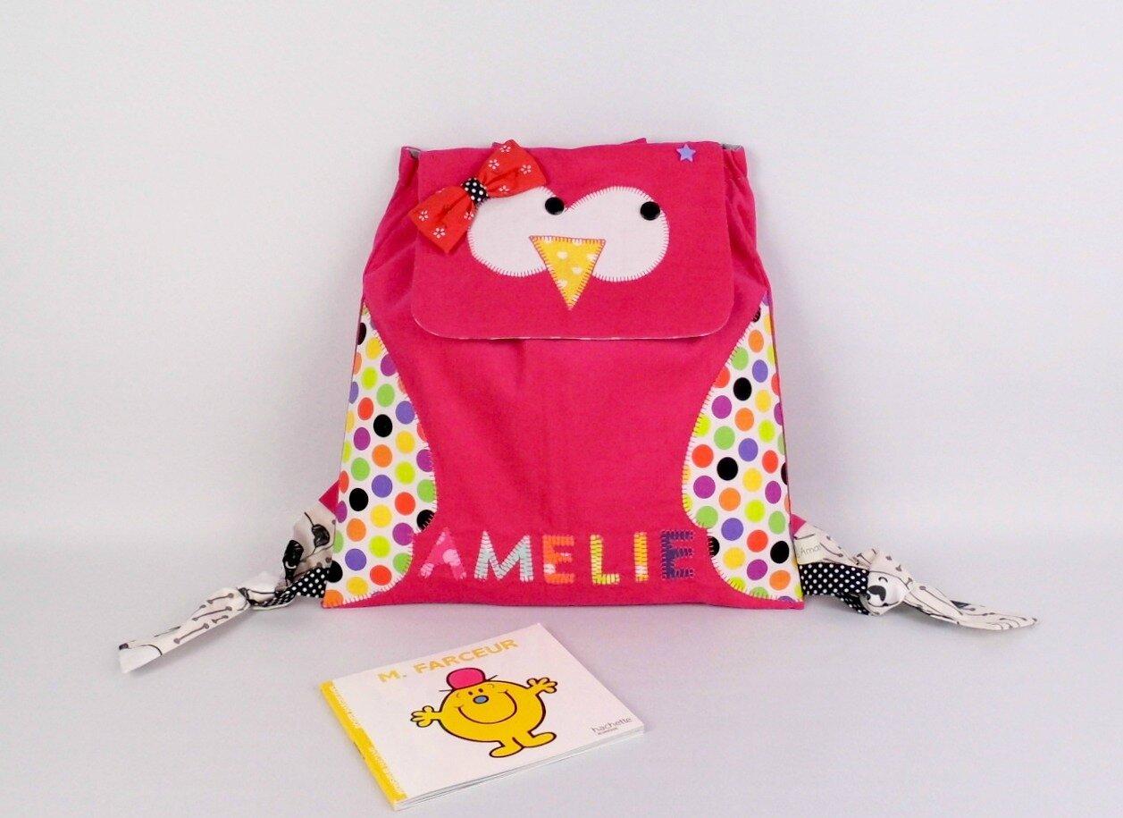 Sac maternelle chouette personnalisé prénom sac à dos maternelle fille rose jaune owl kindergarten backpack personalized name Amélie pink