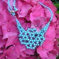 Collier flocons turquoise.
