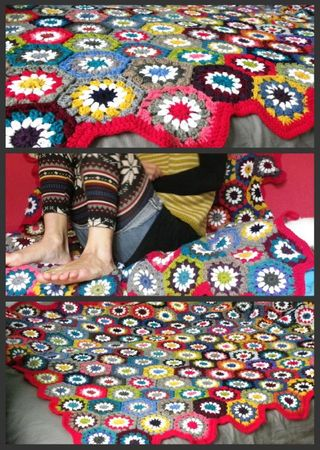 granny hexagone crochet couverture collage
