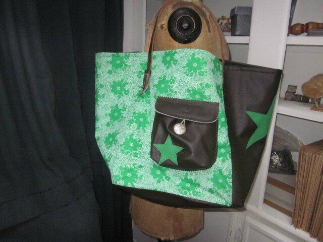 Sac cabas FELICIE n° 19 ... coton vintage vert fleuri...