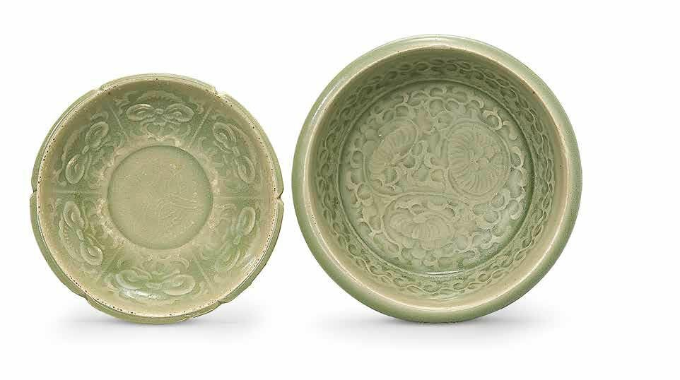 Two small moulded Yaozhou celadon dishes, Northern Song dynasty (960-1127)