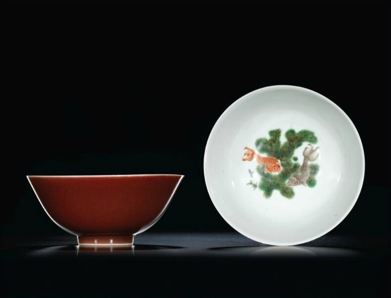 A pair of copper-red and famille-verte 'Goldfish'  bowls, seal marks and period of Daoguang (1821-1850)