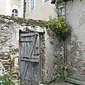 vieille porte et fleurs sur le mur