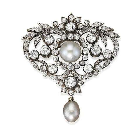 A late 19th century natural pearl, cultured pearl and diamond brooch, circa 1890