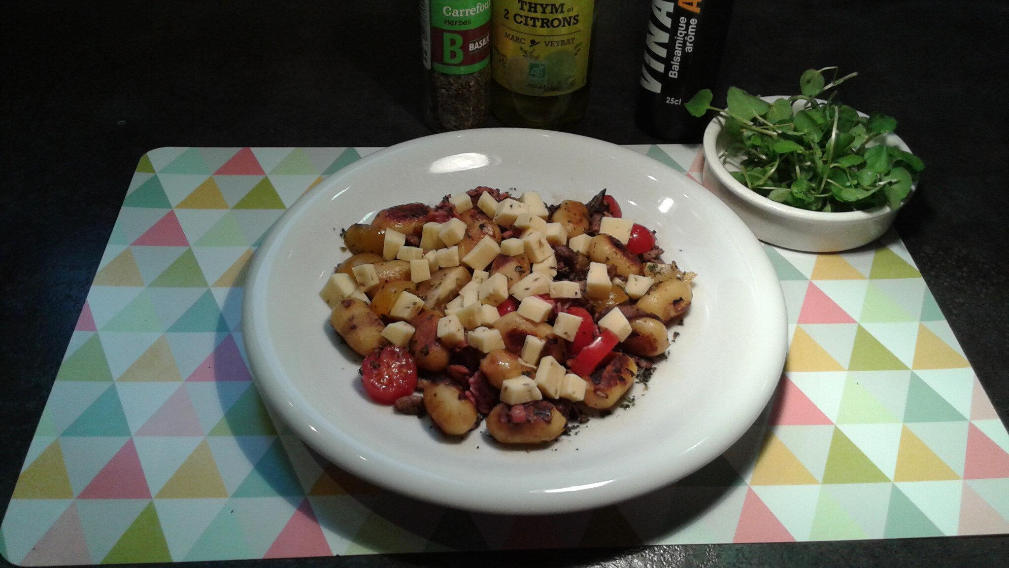 Gnocchi à Poêler extra deuxième recette : boeuf, tomates cerises, basilic et gouda au cumin