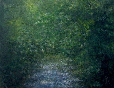 Brouillard vert - acrylique sur toile
