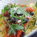 Tagliatelles aux tomates cerises et olives noires