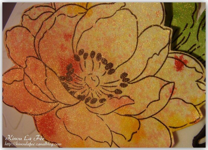Carte Fleurs encre et shimmer 4