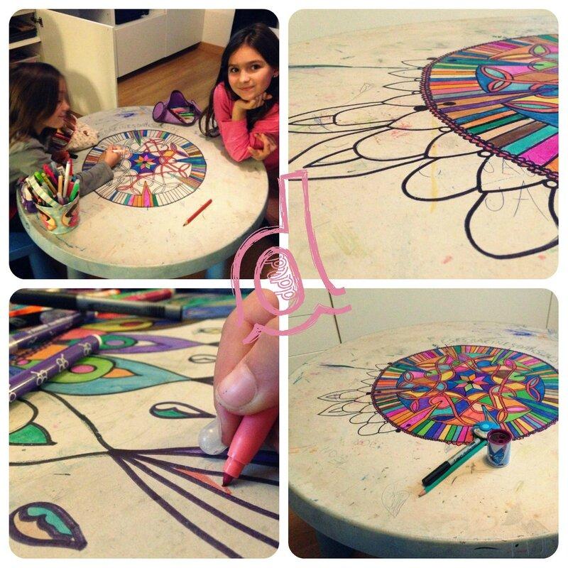 collage mandala table