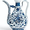 A fine ming-style blue and white ewer. seal mark and period of qianlong