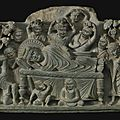 A grey schist relief depicting the parinirvana of buddha, ancient region of gandhara, kushan period, 2nd century