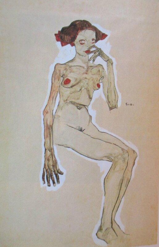 Jeune fille nue assise 1910 Schiele