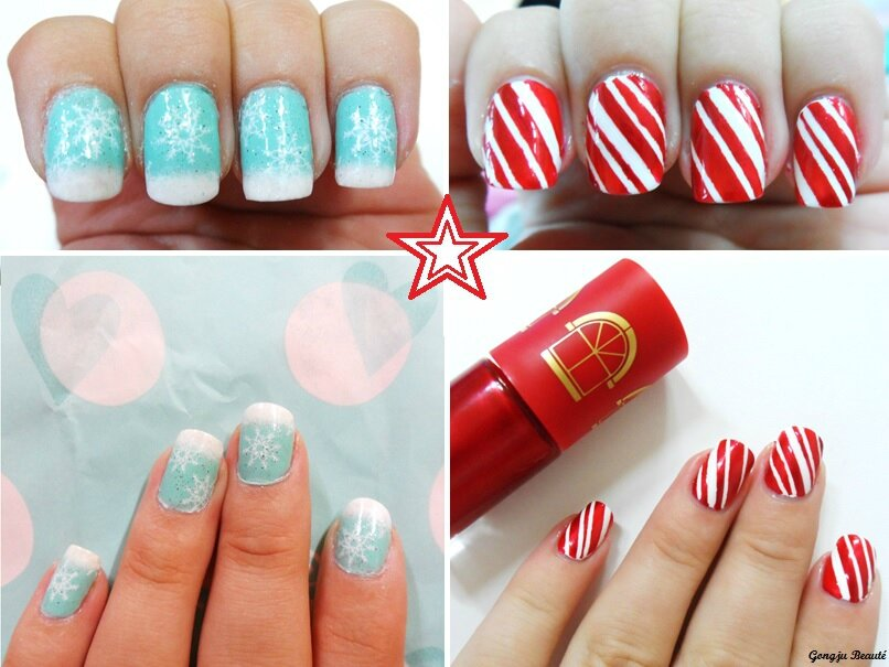 Deux nail art facile faire sp cial no l gongju beaut - Nail art noel facile ...