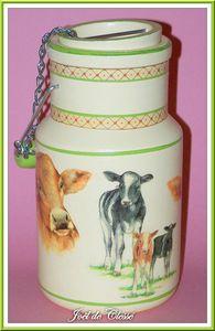Pot lait 3 22x11,5cm,bois peint et serviettes collées