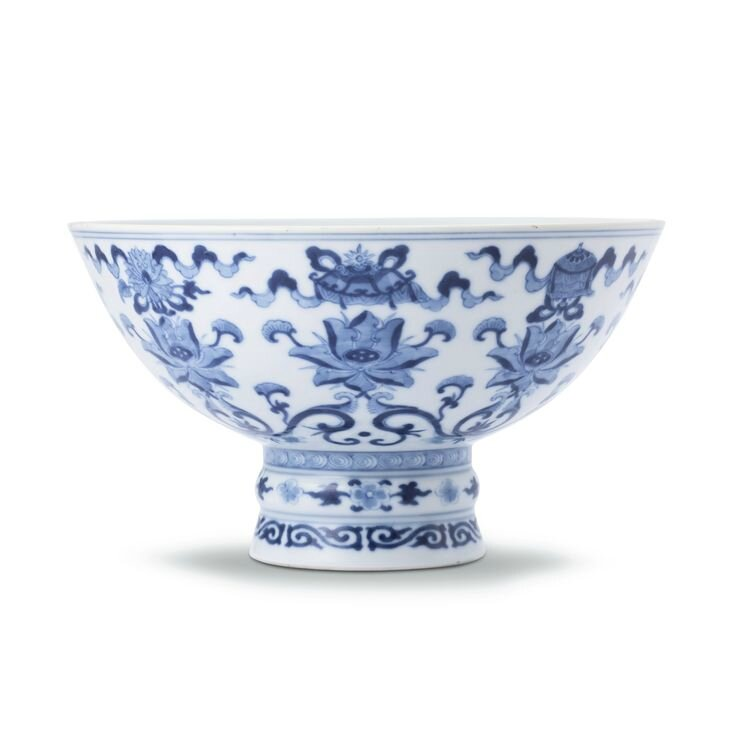 A blue and white 'Bajixiang' stembowl, Seal mark and period of Qianlong
