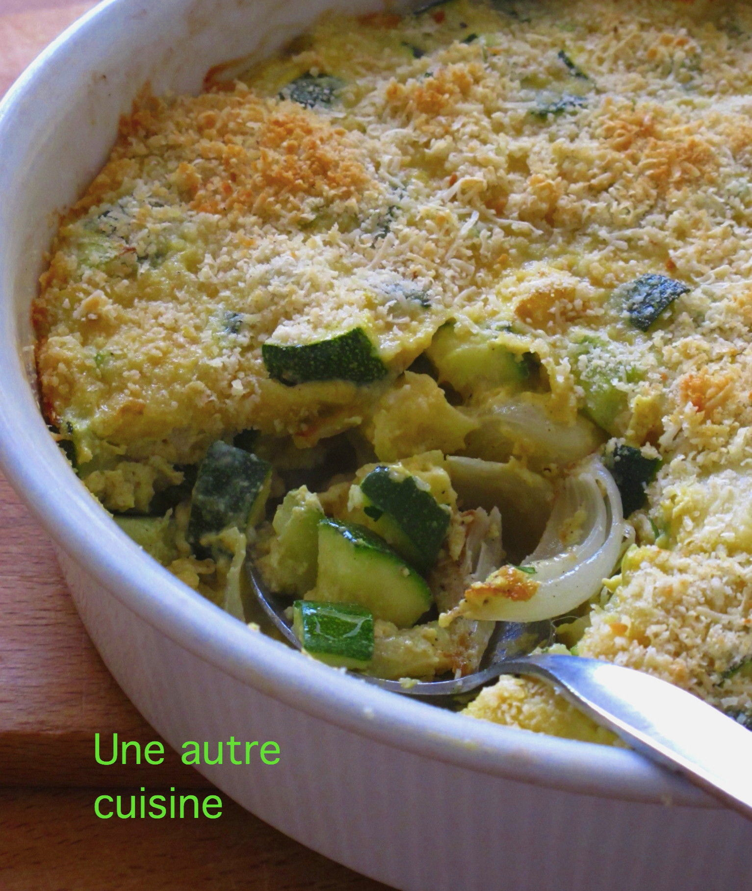 gratin de courgettes cr me et moutarde une autre cuisine. Black Bedroom Furniture Sets. Home Design Ideas