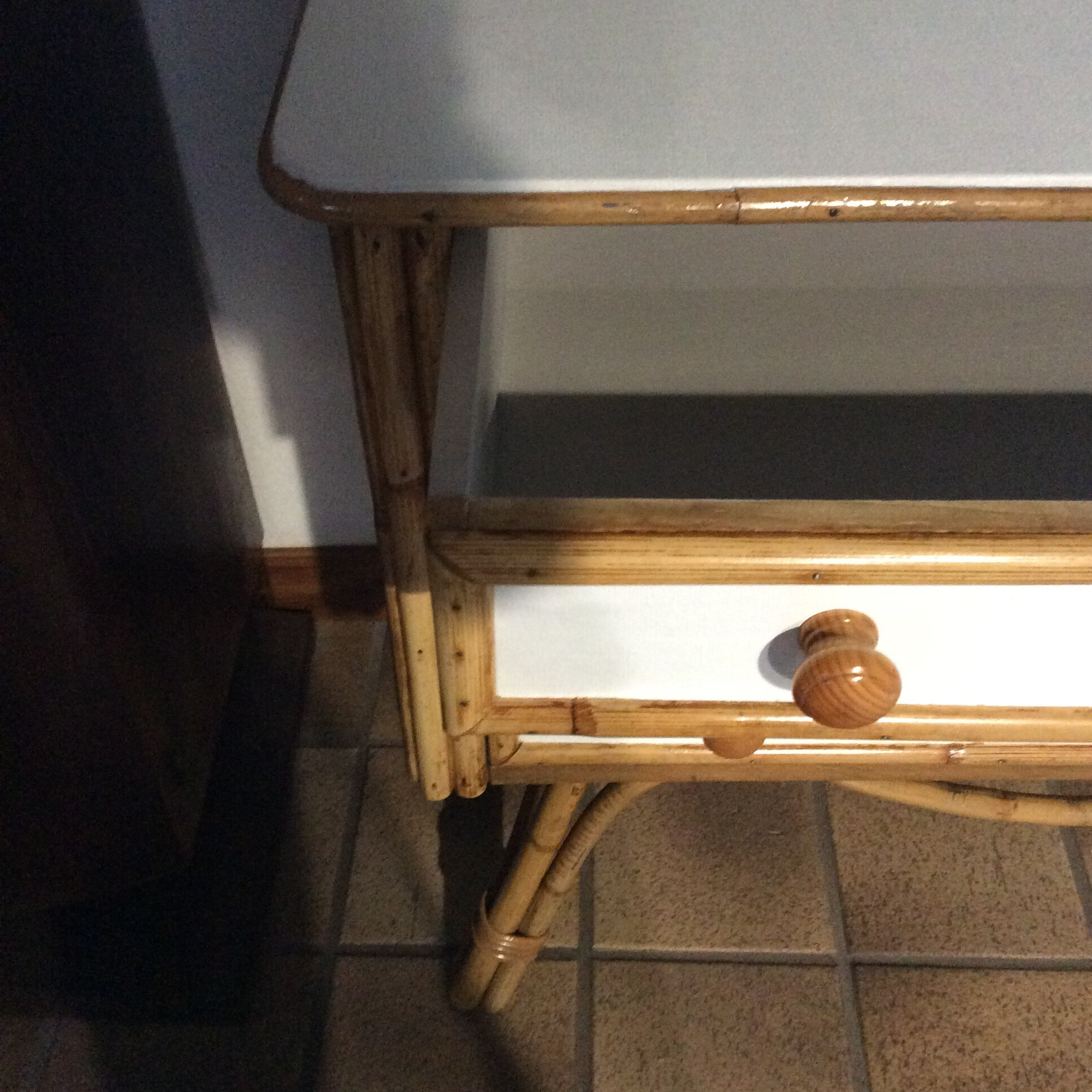 commode ancienne bambou
