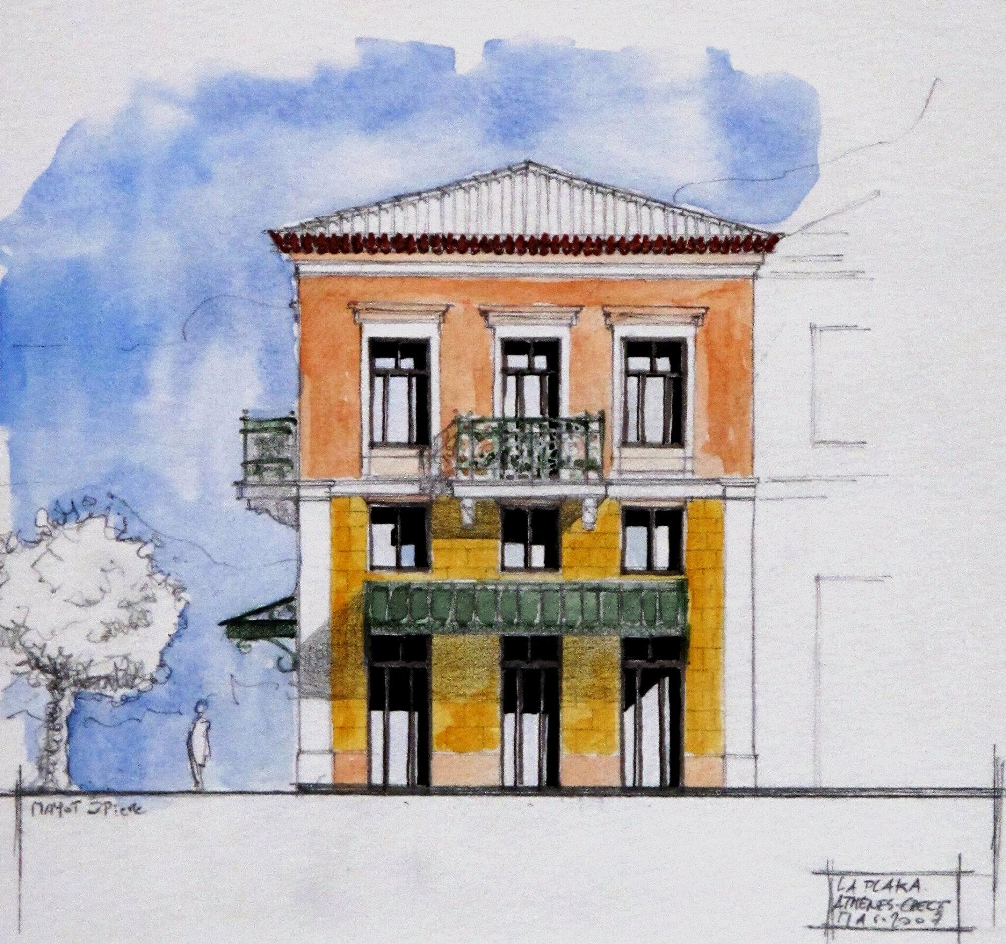 Aquarelles et architectures for Aquarelle maison