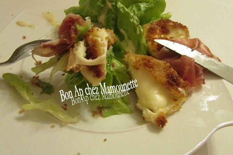babybel frits sur nid de salade et sa coppa 011