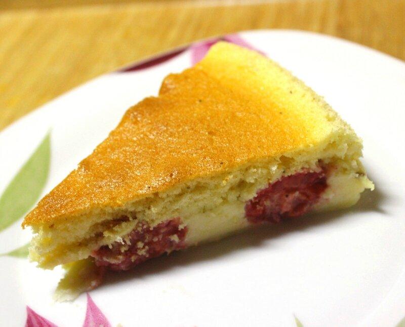 Gâteau magique vanille framboise