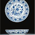 A blue and white 'lotus bouquet' dish. ming dynasty, 15th century