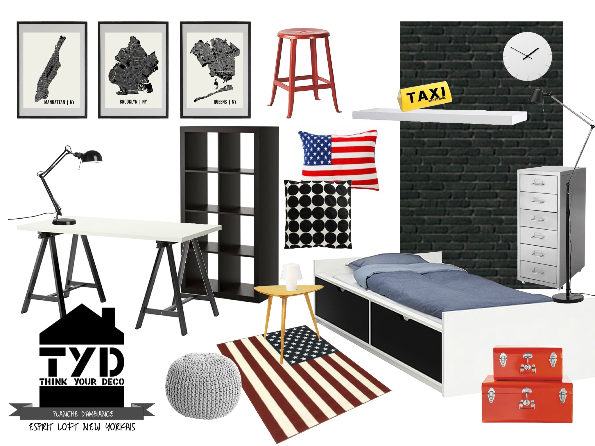 D co chambre taxi new york for Chambre deco new york ado