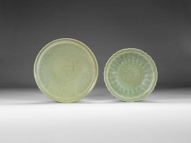 Two Longquan celadon-glazed dishes, Early Ming Dynasty